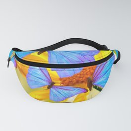 Shiny Blue Butterflies On A Yellow Flower #decor #society6 #buyart Fanny Pack