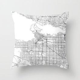 Vancouver Map White Throw Pillow