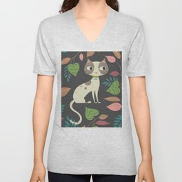Nocturnal Cat Unisex V-Neck