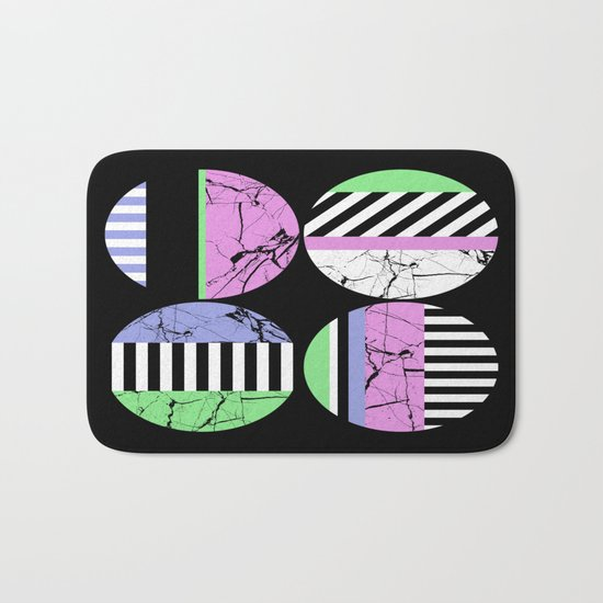 AMPS Uno - Abstract Marble Pastel Stripes Bath Mat