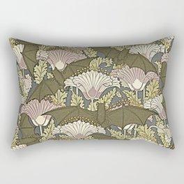 Burgundy Trimmed Art  Nouveau Bats & Poppy Patterns Rectangular Pillow