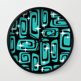 Mid Century Modern Cosmic Galaxies 435 Black and Turquoise Wall Clock