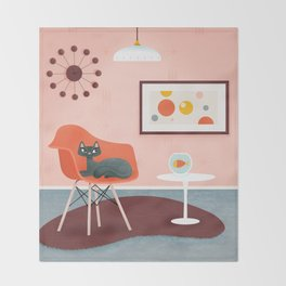 Midcentury Coral Decor With Black Cat And Gold Fish Throw Blanket