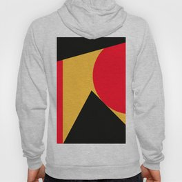 Abstract retro modern print in red black yellow colors Hoody
