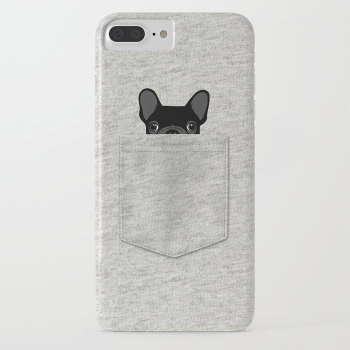 pocket french bulldog - black iphone case