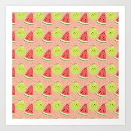 Funny cute lime green red coral watermelon fruit pattern Art Print
