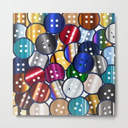 Color Button Collection Metal Print