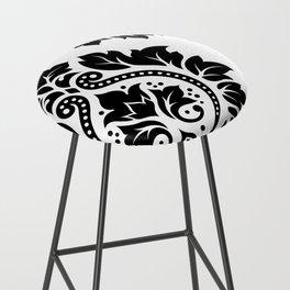 Decorative Damask Art I Black on White Bar Stool