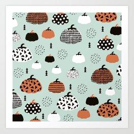 Inky Texture Pumpkins halloween illustration pattern design mint orange Art Print