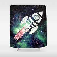spaceship Shower Curtains featuring Spaceship by Cs025