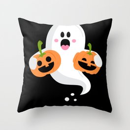 Halloween Ghost With Pumpkin Ghost Costume Throw Pillow