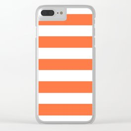 Smashed Pumpkin - solid color - white stripes pattern Clear iPhone Case