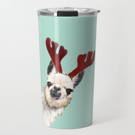 Llama Reindeer in Green Travel Mug