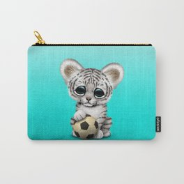 White Tiger Cub With Football Soccer Ball Carry-All Pouch