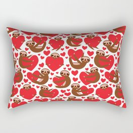 pattern Three-toed sloth holding red heart, on white background. Valentine's Day Card. Funny Kawaii Rectangular Pillow