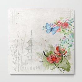 Oriental Rice Paper Garden Metal Print