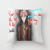 hetalia Throw Pillows featuring America, America Don't You Cry by AquaticGalaxy