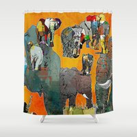 elephants Shower Curtains featuring Elephants by Jonas Ericson