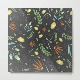 Floral grey pattern Metal Print