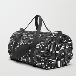 Black and White Stripes and Shapes Pattern Duffle Bag