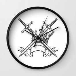 Vintage Print Royal Crown with Swords and Ribbon Monochrome Style. Black and White Wall Clock