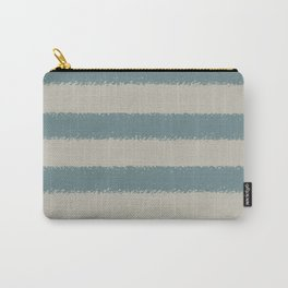 Muted Aqua and Tan Line Pattern 2021 Color of the Year Aegean Teal and Winterwood Carry-All Pouch