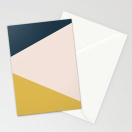Jag. Minimalist Geometric Color Block in Navy Blue, Mustard Yellow, and Pale Blush Pink Stationery Cards