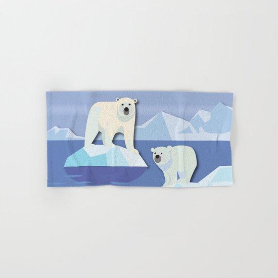 Polar Bears On The Rocks Hand & Bath Towel