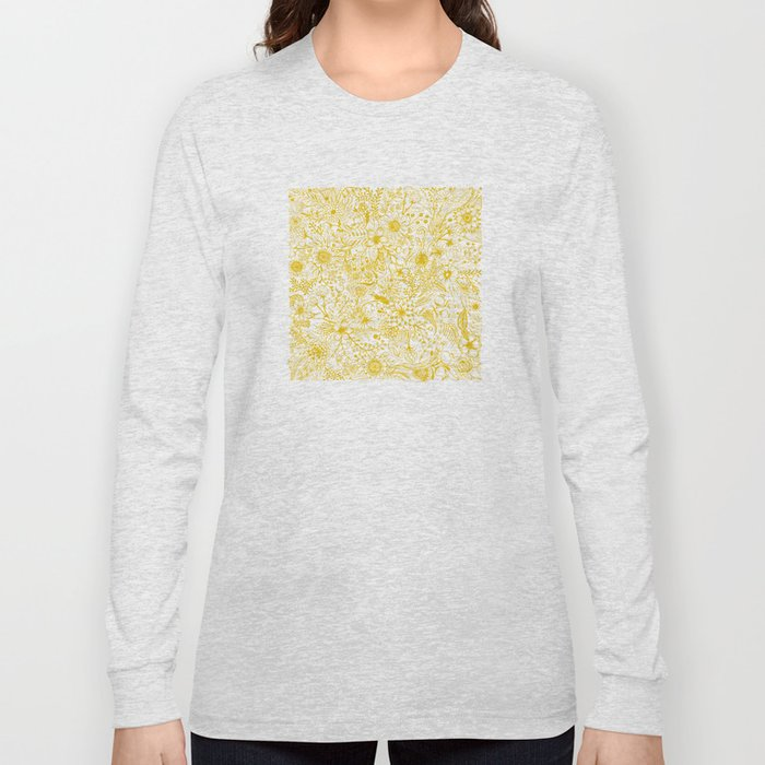 Yellow Floral Doodles Long Sleeve T-shirt