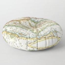 Vintage Map Print - 1670s Sanson Map of Arabia Floor Pillow