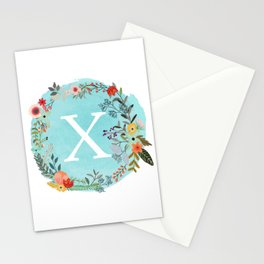 Personalized Monogram Initial Letter X Blue Watercolor Flower Wreath Artwork Stationery Cards