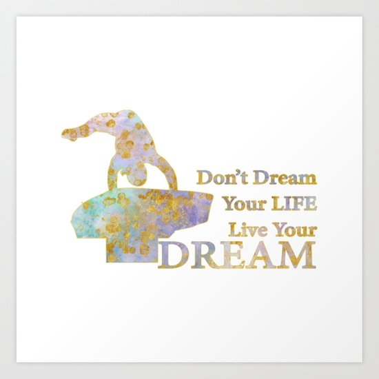 Live Your Dream Gymnastics Design in Watercolor and Gold by purposelydesigned