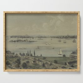 Vintage Panoramic Map of NYC, Jersey City & Staten Island Serving Tray