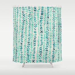 Hand Painted Herringbone Pattern in Mint Shower Curtain