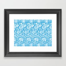 "William Morris Floral Pattern | ""Pink and Rose"" in Turquoise Blue and White Framed Art Print"