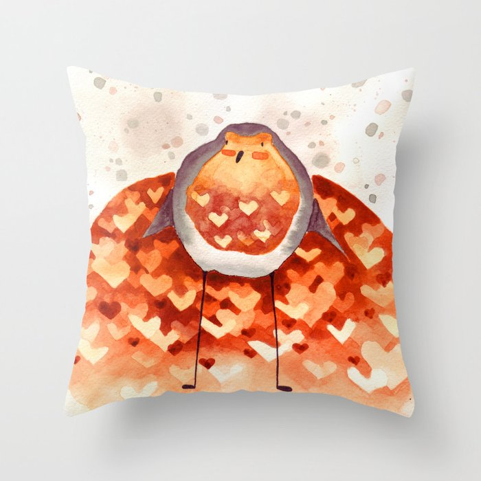 Robin and Love Throw Pillow