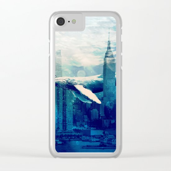 Blue Whale in NYC Clear iPhone Case