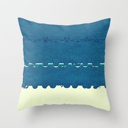 Blue Yellow Abstract Ocean Wave Pattern Throw Pillow