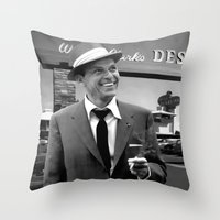 frank sinatra Throw Pillows featuring Frank Sinatra in Las Vegas by Gabriel T Toro