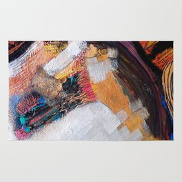 Meye - Mixed Media Acrylic Glass Beads Collage Abstract Modern Fine Art Rug