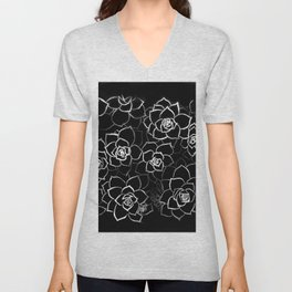 White ink. graphic with white ink and black cardboard. flowers Unisex V-Neck