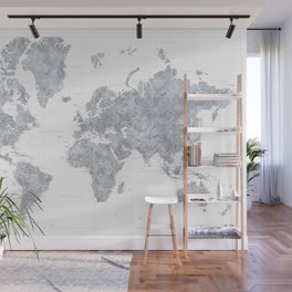 "Gray watercolor highly detailed world map, ""Jimmy"" Wall Mural"