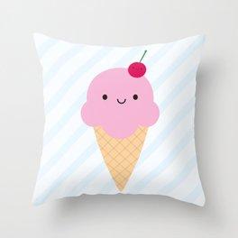 Kawaii Ice Cream Cone Throw Pillow
