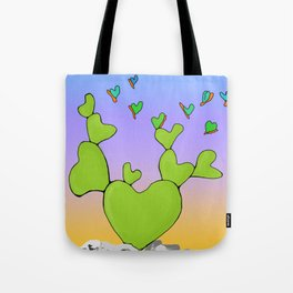 Butterfly Evolving Heart Cactus Tote Bag