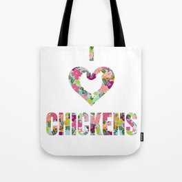 I Love Chickens Floral Pattern Heart Tote Bag