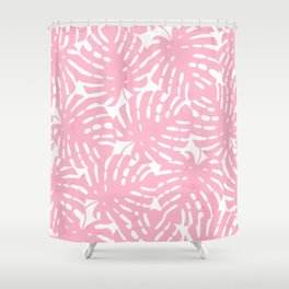Pink Monstera Leaves Shower Curtain