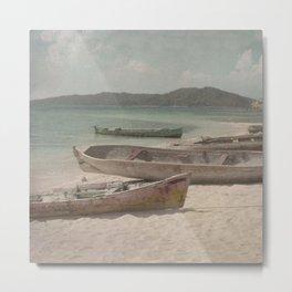 Vintage Beached Canoes  Metal Print