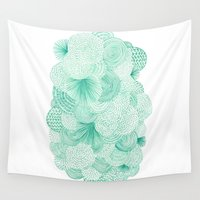 bianca green Wall Tapestries featuring Green Fields by Marcelo Romero