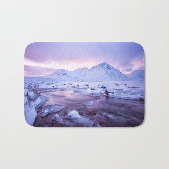 Freezing Mountain Lake Landscape Bath Mat