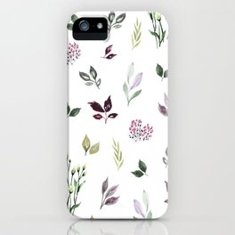 Tiny watercolor leaves iPhone Case